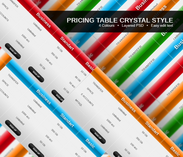 Template Image for Pricing Tables Crystal Style - 30022