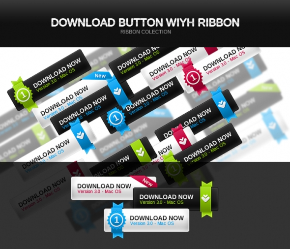 Template Image for Download Buttons with Ribbons - 30023
