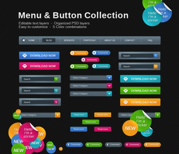 Template Image for Bight Web Button & Menu Collection - 30028
