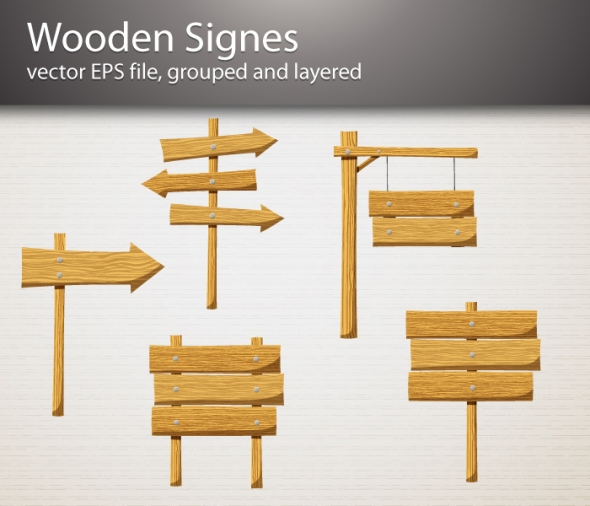 Wooden signs vector 30177 icons graphics for Wood sign making templates